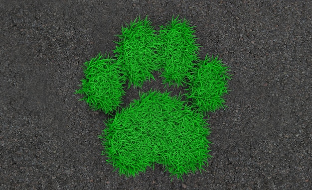 3d rendering silhouette of an animal print from a green grass on the asphalt
