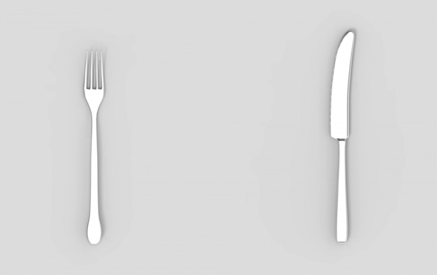 3d rendering. silver fork and knife on empty gray background.