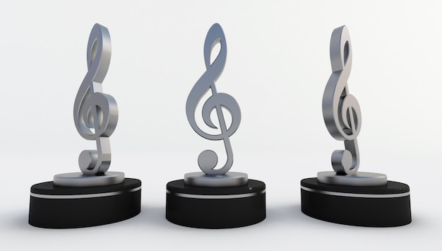 3d rendering of silver music note isolated