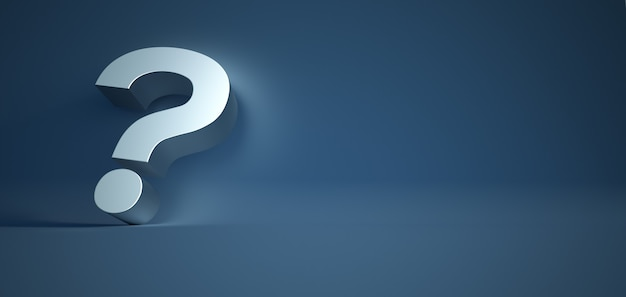 3d rendering of a silver question mark on a blue surface