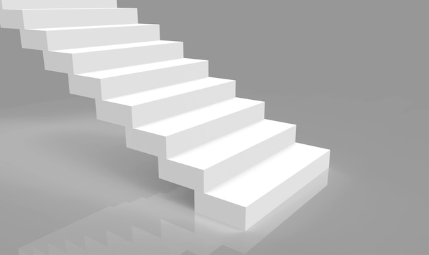 3d рендеринг. простой минималистичный дизайн белые лестницы на фоне серой комнаты.