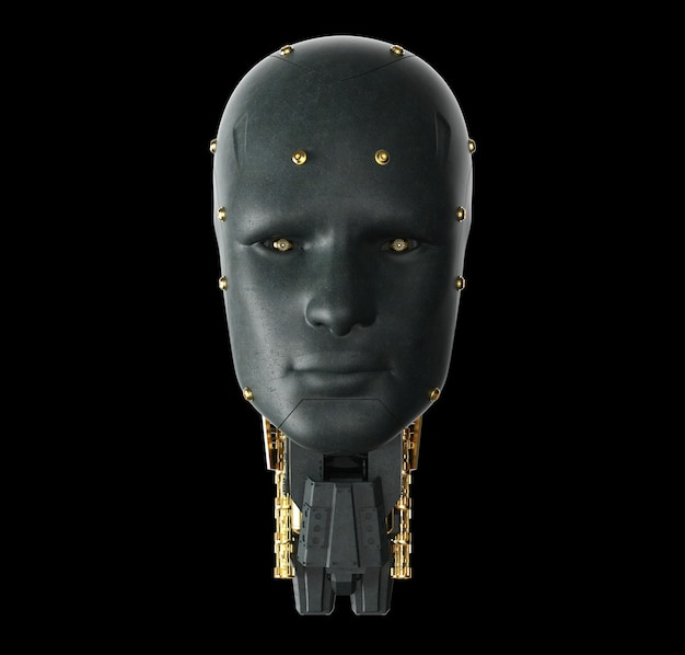 3d rendering single color black ai robot on black background