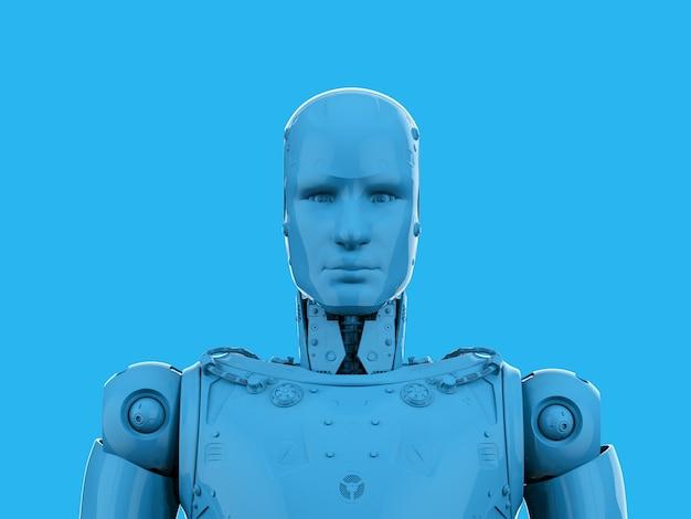 3d rendering single color blue ai robot on blue background