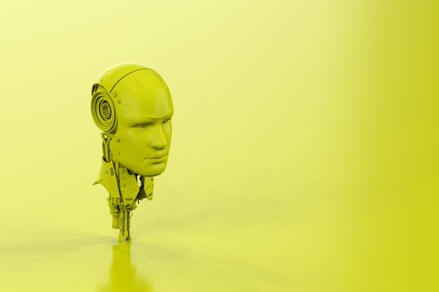 3d rendering single color neon yellow ai robot on yellow background with empty space