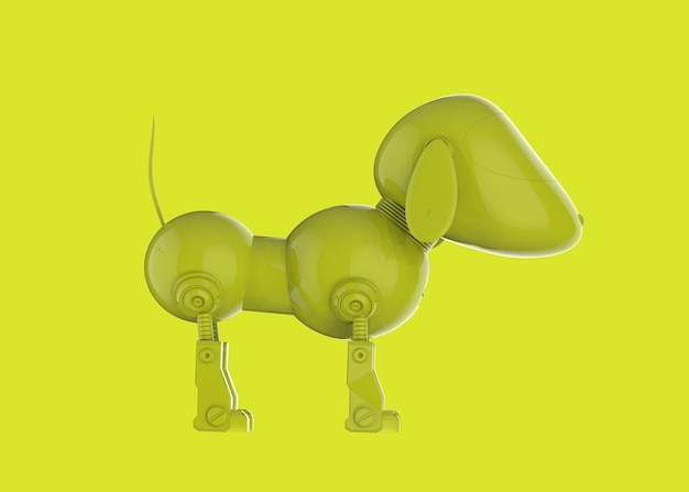 3d rendering single color neon yellow dog robot on yellow background