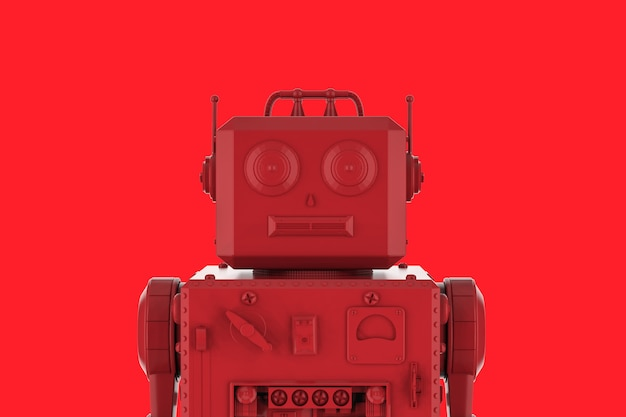 3d rendering single color red ai robot on red background