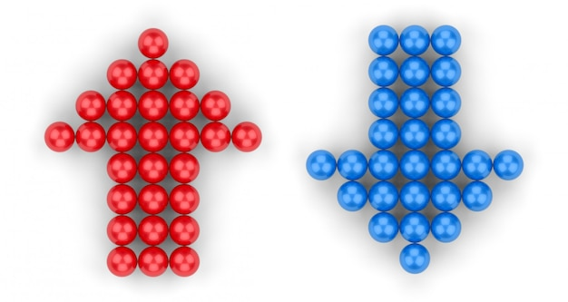 3d rendering. small red ball group in up and blue in down arrow shape on white
