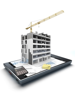 3d rendering of a smart phone with an apartment block in construction, on top of graphics and a mortgage application form jutting out