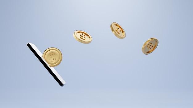 3d-рендеринг. смартфон и монеты и инвестиционные бизнес-идеи