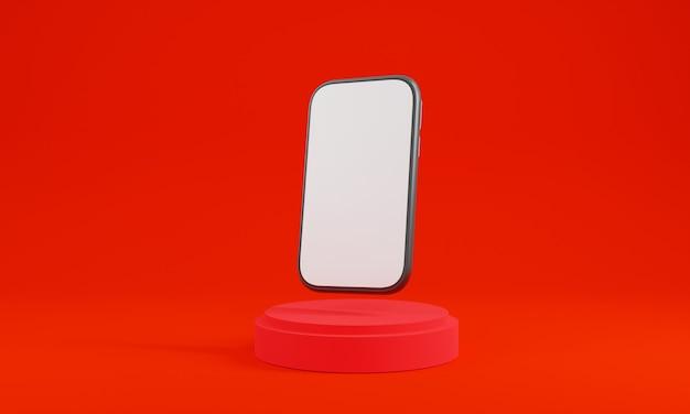 3d 렌더링 스마트 폰. 연단 쇼케이스와 빨간색 배경 렌더링입니다. 모바일 장치 모형을 보여줍니다. 받침대 빨간색에 무대 쇼케이스 디스플레이