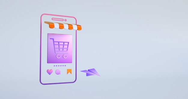 3d rendering of smartphone and shopping cart icon.