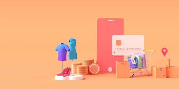 3d rendering of smartphone with credit card