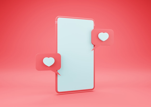 3d-рендеринг смартфона с иконой сердца на пустом экране. концепция дня святого валентина.