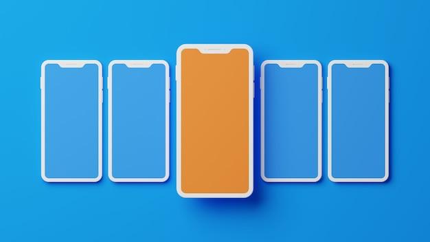 3d rendering of  smartphones mock up