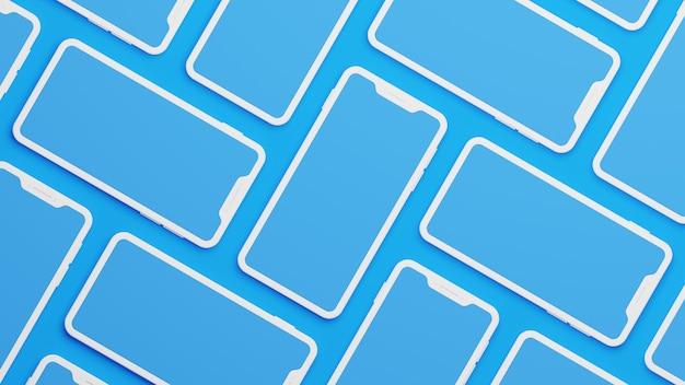 3d rendering of  smartphones with blank screen illustration