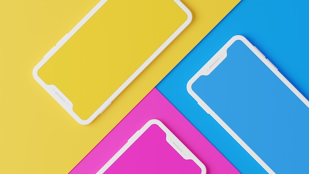 3d rendering of  smartphones with colorful background