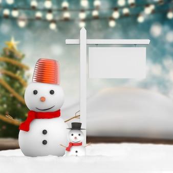 3d rendering smiling snowman