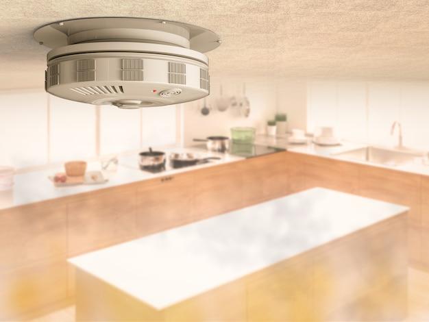 3d-рендеринг детектора дыма на потолке с дымом на кухне
