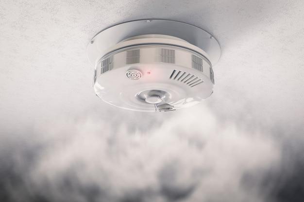 3d рендеринг детектора дыма на потолке