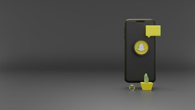 스마트폰 화면에 3d 렌더링 snapchat 로고 소셜 미디어 아이콘