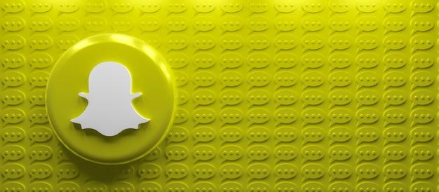 메시지 아이콘이 있는 3d 렌더링 snapchat 로고