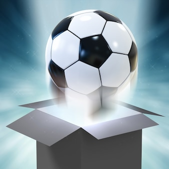 3d rendering soccer ball blowing out of magic box