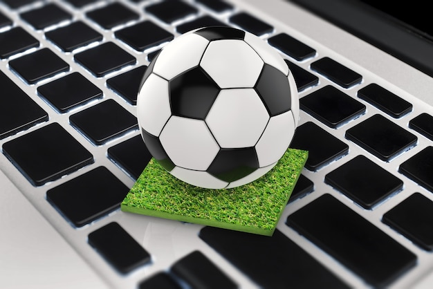 3d rendering soccer ball on computer keyboard