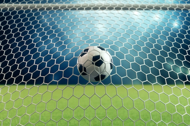 3d rendering soccer ball in goal. soccer ball in net with spotlight and stadium light background, success concept. soccer ball on blue background with grass.