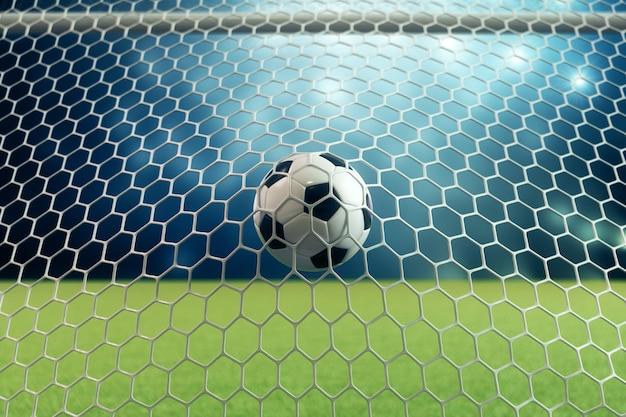 Футбольный мяч перевода 3d в цели. футбольный мяч в сети с предпосылкой фары и стадиона светлой, концепцией успеха. футбольный мяч на синем фоне с травой.