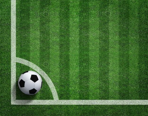3d rendering of soccer ball with line on soccer field.