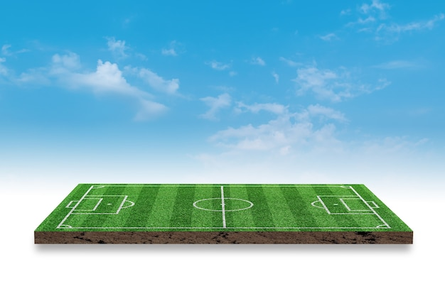 3d rendering. soccer green grass field on blue sky background.