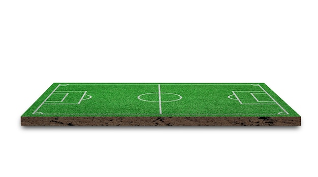 3d rendering. soccer lawn, green grass football field, isolated on white background.
