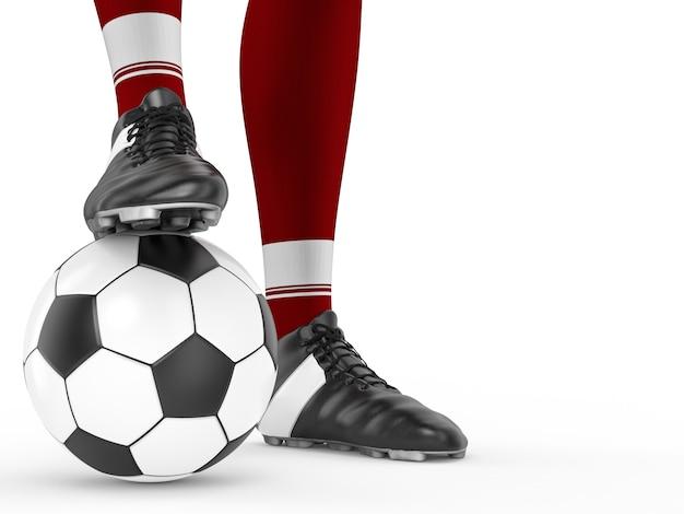 サッカーボールで立っている3dレンダリングサッカー選手
