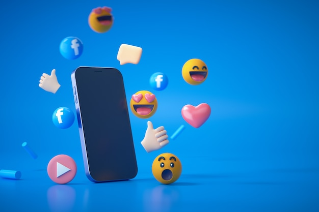 3d rendering of social media facebook logo and emoji reactions with smartphone on blue