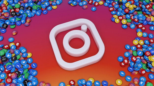3d rendering of social media logo surrounded by lots of most popular social network glossy pills over colorful background