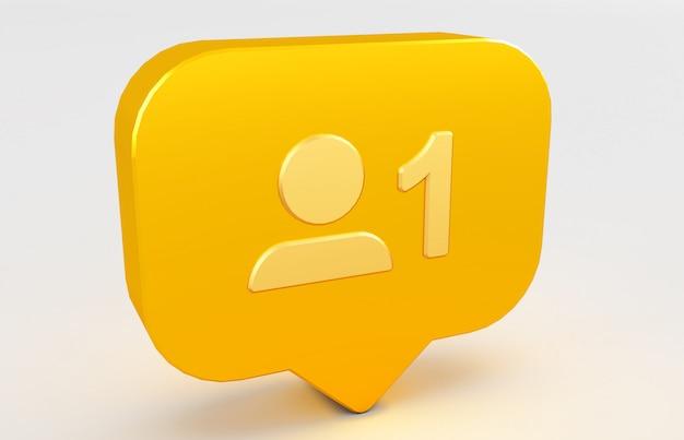 3d rendering of social media notification icon. follow icon.