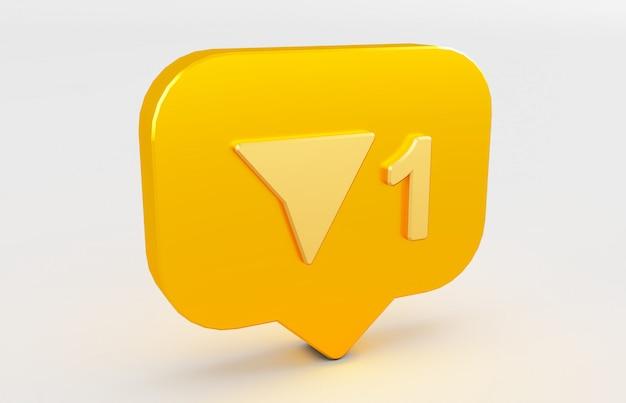 3d rendering of social media notification icon.