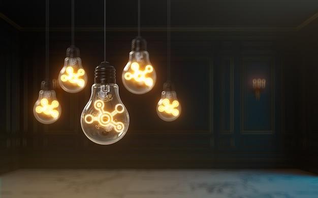 電球プレミアムカバー写真の背景の中で3dレンダリングソーシャルネットワークアイコンが光る
