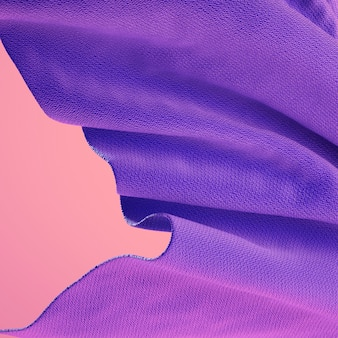 3d rendering of soft cloth purple material on coral pink