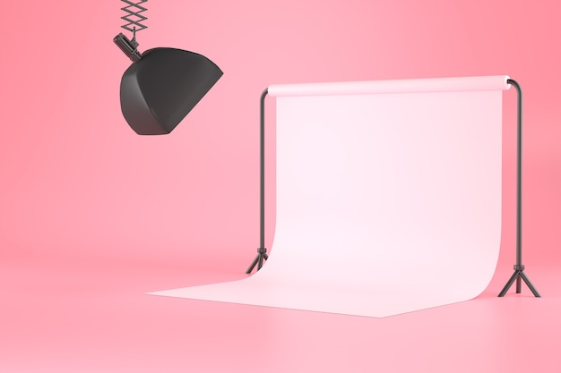 3d rendering of softbox and white screen backdrop.