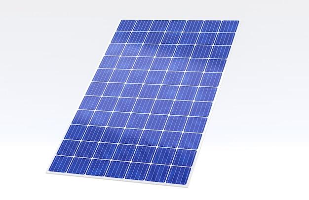 3d 렌더링 태양 전지 패널 흰색 배경에 고립, 광전지는 전기, 녹색 에너지 및 재생 가능한 개념을 생성