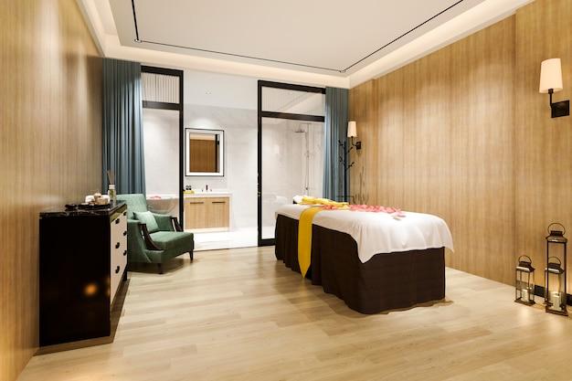 호텔 스위트에서 3d 렌더링 스파 및 마사지 웰빙