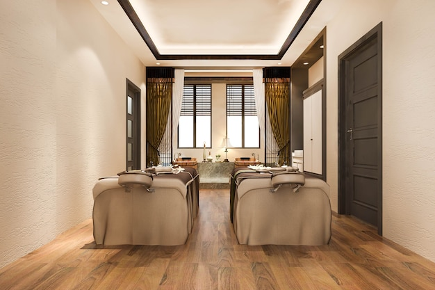 3d rendering spa and massage wellness in hotel suite with bathtub