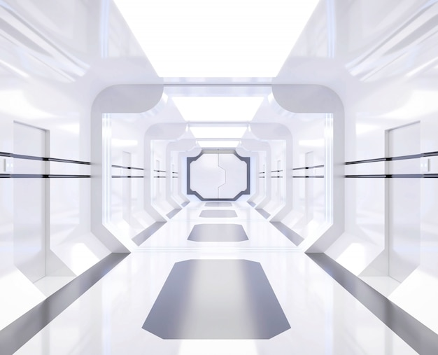 3d rendering spaceship white and bright interior with view,tunnel,corridor