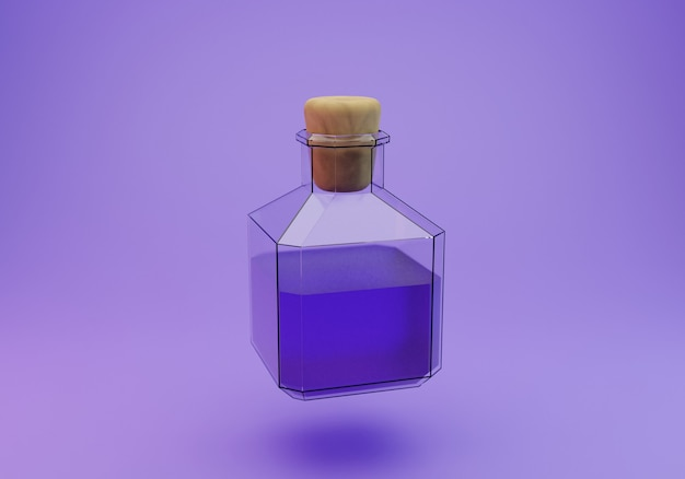 3d rendering of a spell liquid in a glass bottle