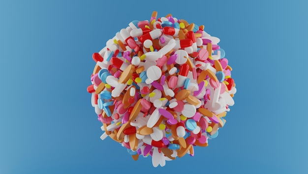 3d rendering sphere of multi colors pills on color