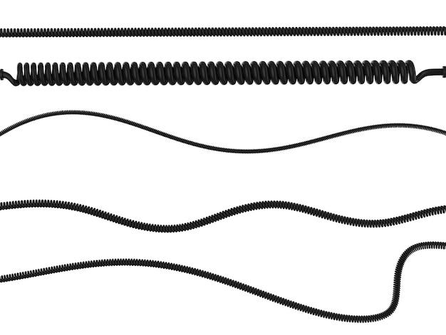 3d-рендеринг спиральных шнуров различного размера, изолированные на белом