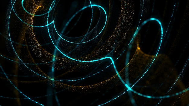スパイラル粒子の背景を3dレンダリングします。小さなランダムな粒子のドットで作られたツイスト形状。詳細。