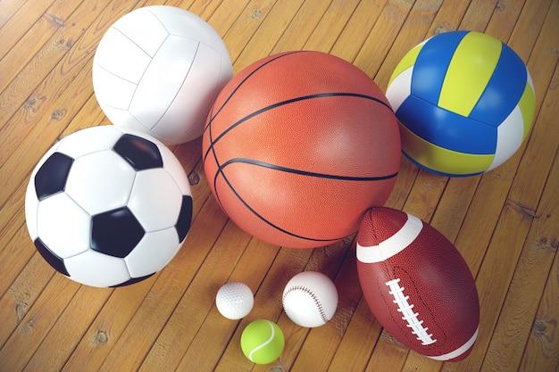 3d rendering sport balls on wooden backgorund