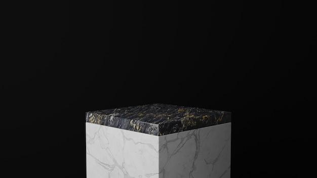 3d rendering of  square marble pedestal podium